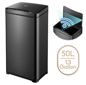13 Gallon Trash Can Black Steel Touchless Motion Sensor Soft Close Lid 50L