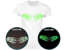 Skeleton Hands Side Glow In The Dark Womens Halloween T-Shirt (12 Colours)