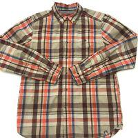 The North Face Mens Button Down Shirt Long Sleeve Orange Plaid Size Medium. C9