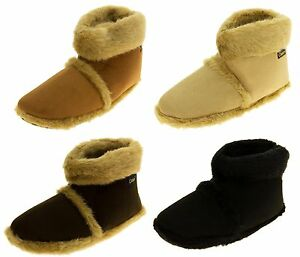 Mens Coolers Faux Fur Lined Faux Suede Boot Slippers UK Size 7-8, 9-10, 11-12