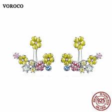 VOROCO Rhodium Plated 925 Silver Colorful Enamel Zircon Blossom Earring Stud