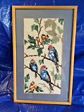 Vintage Framed Bird Tapestry