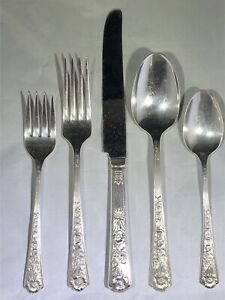 ORNATE ANTIQUE CENTURY ROYAL ROSE STERLING SILVER FLATWARE 5 PIECE PLACE SETTING