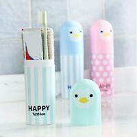 New Portable Cartoon Penguin Toothbrush Toothpaste Holder Travel Storage Case
