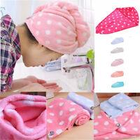 Hot Women Hair Wrap Head Towel Quick Dry Bath Turban Twist Drying Cap Button Hat