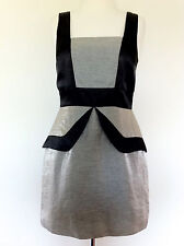 REVIEW MINI FITTED PEPLUM SHIFT DRESS Black & Silver Sz 10 Aus Cocktail Formal