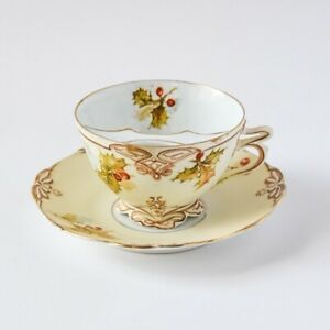Rare Silesia Old Ivory XXII Mustache Teacup & Saucer - Holly Berry Pattern