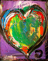 Original Painting HEART ART WALL DECOR no reserve STRETCHED   signed CANVAS CSDF