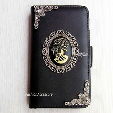 Gothic Skull Lady phone wallet flip case Handmade Stand cover For HTC one M8 M9