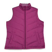 Lands End Down Filled Full Zip Sleeveless Puffer Vest Womens Size L Large Pink