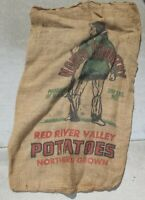 Vintage 100lb Potatoes Burlap Sack - North Country Red River Valley Man with Gun