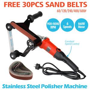 860W Pipe Tube Polisher Belt Sander Grinder Polishing Stainless Steel 6 Speed AU