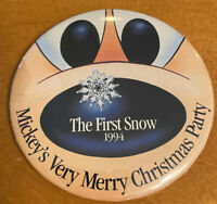 Disney Mickey's Very Merry Christmas Party 1994 The First Snow Pinback Button