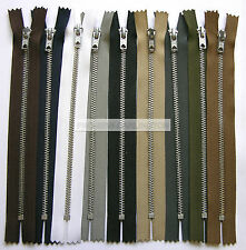 SILVER METAL TEETH TROUSER JEANS ZIP CLOSED ENDED ( 9 COLOURS & LENGTHS )