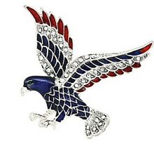 PATRIOTIC RHINESTONE 4TH OF JULY RED, WHITE & BLUE EAGLE SILVER TONE BROOCH