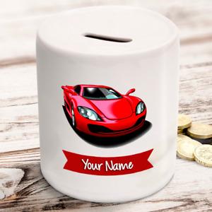Personalised kids childrens money box in sports car design - gift present idea