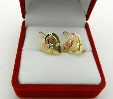Real 10k Multi-Tone Gold HEART Shape  Earrings