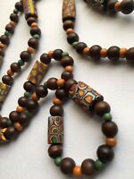 VENETIAN MILLEFIORI MORETTI GLASS TRADE CYLINDRICAL BEAD NECKLACE & Wooden Beads