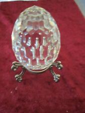 Crystal Faceted Egg Paperweight on Stand