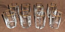 Vintage Murano Glasses, Rare Hexagonal Glasses with Gold Rims, Set of 8