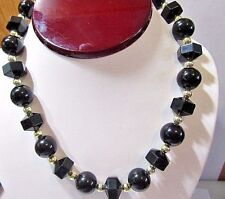 BLACK LUCITE ROUND AND ODD SHAPED BEAD NECKLACE GOLD TONE SPACERS VINTAGE