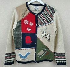 NORTHERN REFLECTIONS Womens Size L Christmas Cardigan Sweater Hand Embroidered
