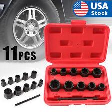 11pcs Twist Socket Set Damaged Lug Nut Lock Remover Extractor Tool 9-19mm Metric