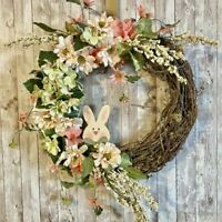 18 Inch Pastel Floral Spring Grapevine Wreath | Easter Wreath | Bunny Wreath
