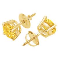 1.5 ct Brilliant Round Cut Solitaire Studs Designer Genuine Flawless VVS1 Simulated Tanzanite 14K 18K White Gold Earrings Screw back