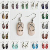 Natural Amethyst Rose Quartz Opal Gem Flip Flop Slipper Silver Dangle Earrings