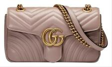 Gucci GG Marmont Small Quilted Shoulder Chain Antique Rose Beige Leather Cross