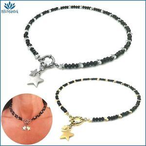 Collana girocollo da donna con stella perle nere in acciaio catenina cerchio per