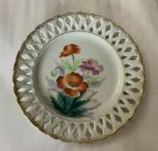 Handpainted Floral Decorative Wall Plate Lattice Edge Gold Rim Signed Japan