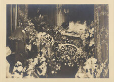 POST MORTEM PHOTOGRAPH OF MAN IN COFFIN SURROUNDED BY MANY FLOWERS -ORIGINAL