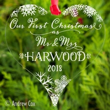 Our/Your First 1st Christmas as Mr and Mrs Baubles Wedding Gifts Bridal Plaque