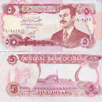 Irak Banknote 5 Dinare Iraq 5 Dinars 1992 Papiergeld ausAsien Saddam Hussein UNC