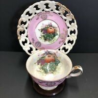 Vintage Royal Halsey Pink Iridescent Footed Tea Cup & Saucer Reticulated Fruits