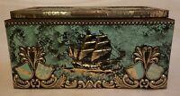 Vintage Tin Cigar Box Sailing Ship West Germany Bering Galleon-Empty