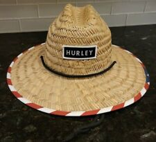 HURLEY BAYSIDE STRAW LIFEGUARD HAT USA FLAG MENS ONE SIZE SHIPS IN BOX WITH CARE