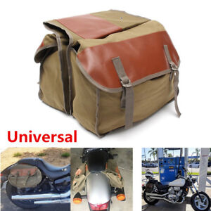 Large Capacity Army Green Canvas Motorcycle Rear Tail Bags Saddle Bag 40X15X30CM