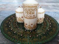 Personalized Mehndi Plates with CANDLES