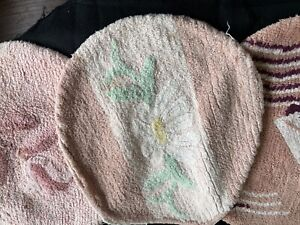 daisy/ mint vint toilet seat cover repurpose use fabric piece 100% cot chenille