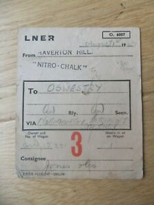 LNER Haverton Hill Oswestry Wagon Label 1947