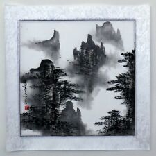 """Chinese painting landscape hand painted 16x16"""" feng shui brush ink small art"""