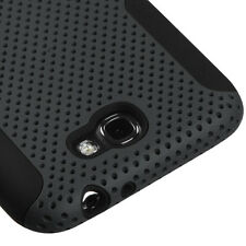 For Samsung Galaxy Note II 2 MESH Hard Hybrid Silicone Rubber Skin Case Grey