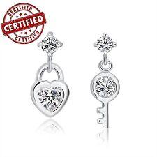 Solid Sterling Silver Heart Shaped Lock & Key CZ Dangle Earrings Nickel Free