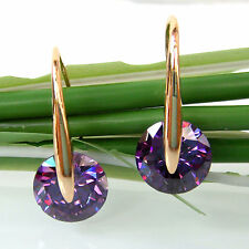 Navachi Amethyst Zircon Crystal 18K GP Hook Earrings Аметист серьги BH2803