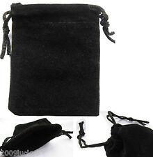 Black Small Jewellery Velvet Pouch Gift Bag Drawstring 9cm x 6.5cm Ring Necklace