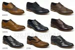 Cavani Mens Leather Peaky Blinders Brogue Lace Up Oxford Smart Formal Shoes