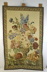 Ornate Border Floral Bouquet Still Life Cotton Blend Tapestry Wall Hanging 26x42